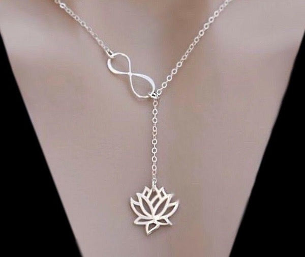 Sterling Silver Lotus Infinity Knot Lariat Necklace