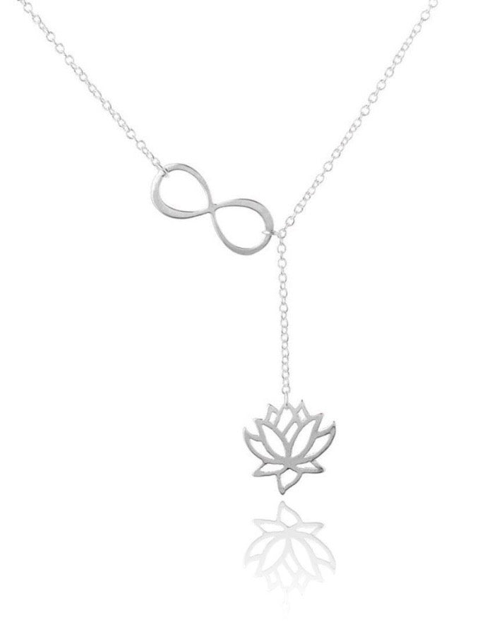 Sterling silver infinity knot lotus flower lariat necklace