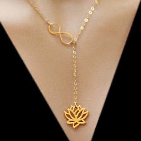 gold vermeil lotus infinity knot lariat y necklace