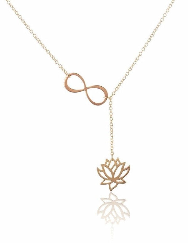Lotus Infinity Knot Lariat Y Necklace
