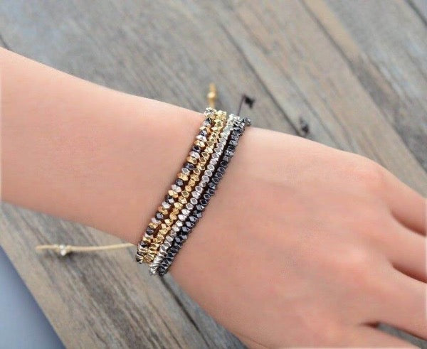 Hand Woven Beaded Friendship Boho Style Bracelet - Gold Hematite Silver Mixed Metals