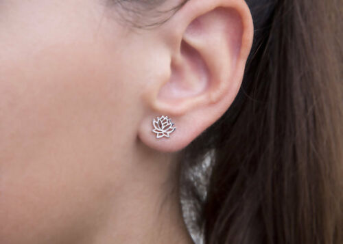 lotus flower sterling silver post earrings