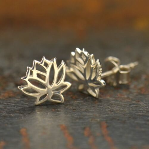 sterling silver lotus flower stud post earrings