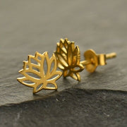 gold vermeil lotus flower stud post earrings