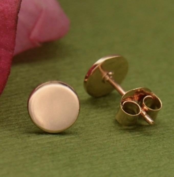 Rose Gold Circle Button Dot Stud Earrings