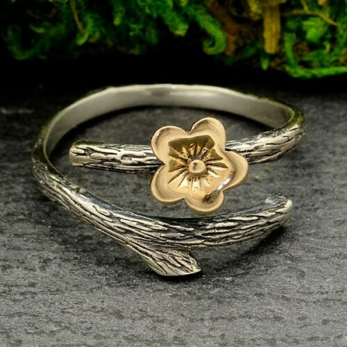 cherry blossom sterling silver branch wrap adjustable ring