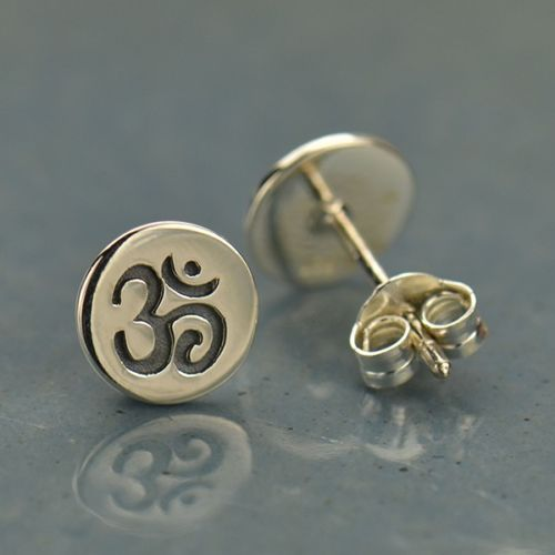 Om Ohm Aum Stamped Yoga Inspired Stud Post Earrings - Sterling Silver .925
