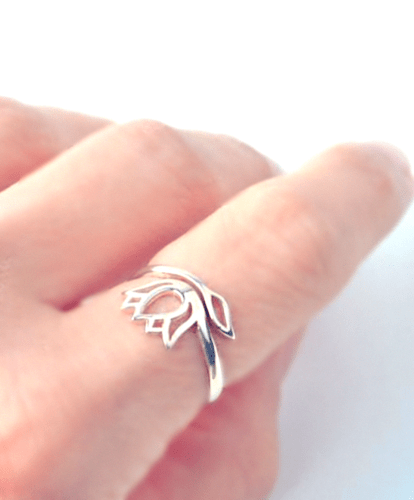 Sterling silver adjustable lotus ring - gifts for the yoga lover