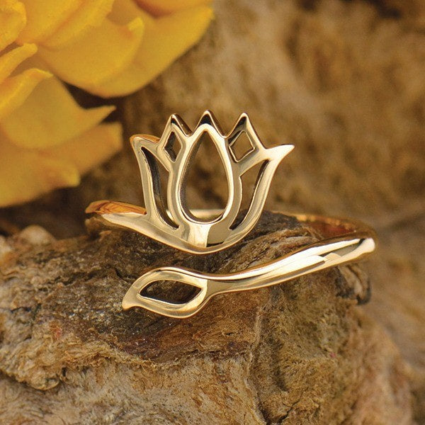 bronze lotus wrap adjustable ring