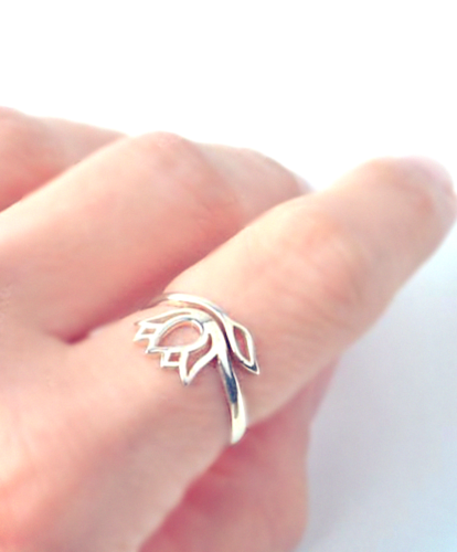 sterling silver adjustable ring lotus design