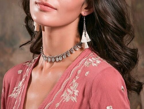 Oval Fringe Choker Bib Boho Style Necklace - Silver or Gold Plated