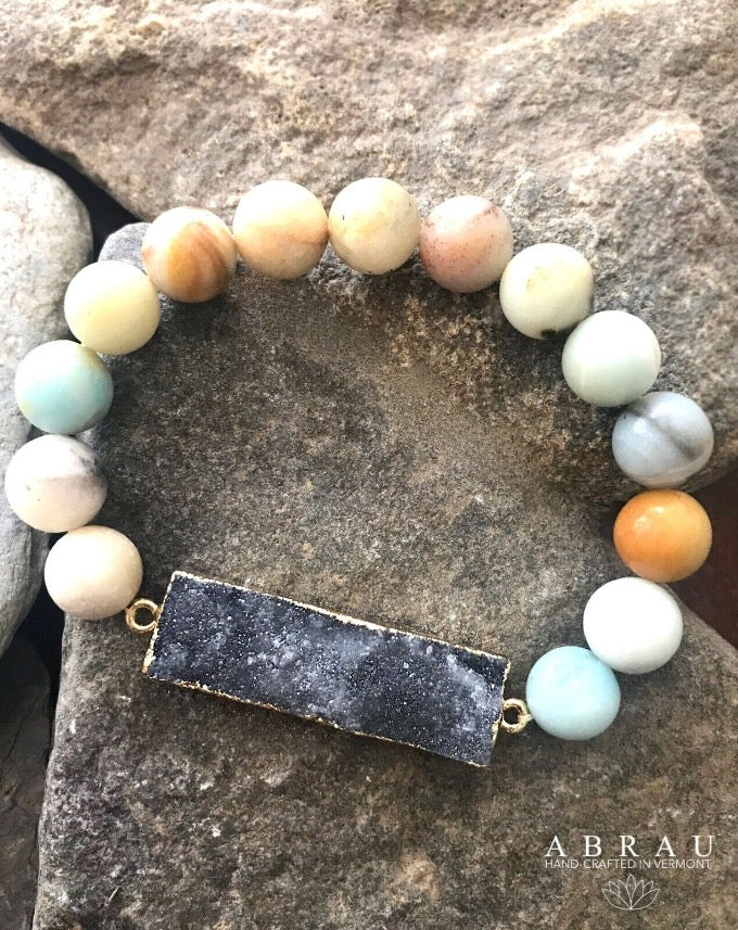 Sparkly Druzy 10mm Bar Round Amazonite Blue Beaded Gemstone Stretch Bracelet
