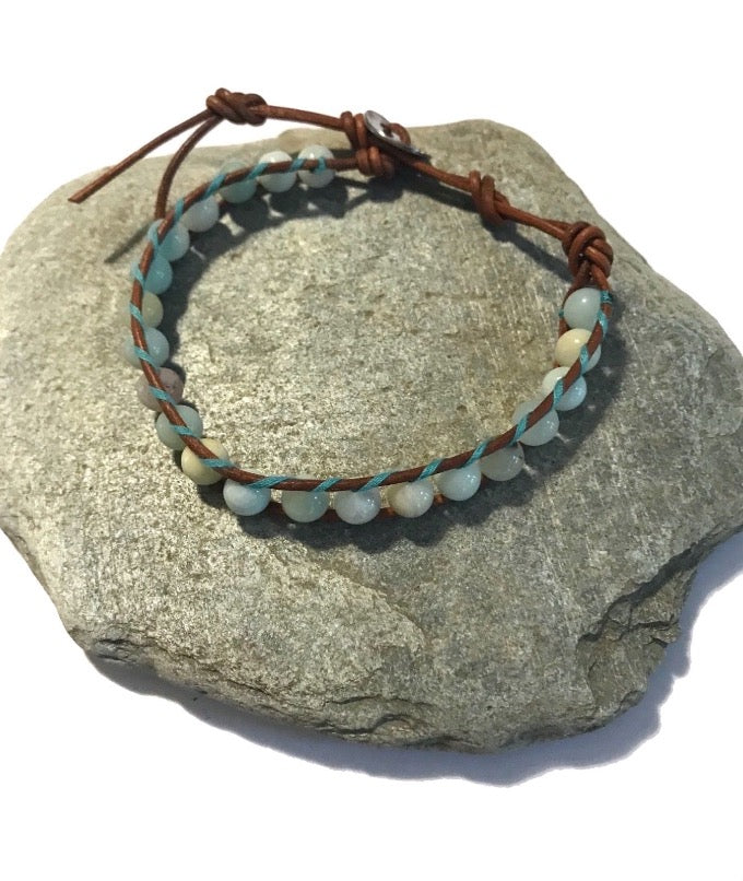 Blue Amazonite Gemstone Brown Genuine Leather Single Wrap Beaded Bracelet