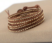 Gold Faceted Beaded Leather Wrap Bracelet | Abrau Jewelry