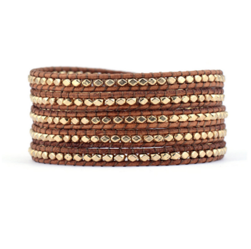 Boho Style Faceted Gold Light Brown Genuine Leather 5 Wrap Beaded Bracelet