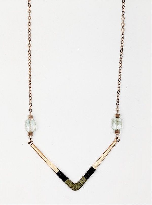 Mixed Media Long V Necklace