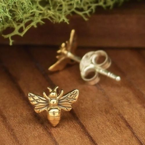 Tiny Bumblebee Honey Bee Stud Post Earrings - Gold or Sterling Silver