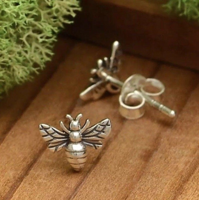 sterling silver tiny bee stud post earrings