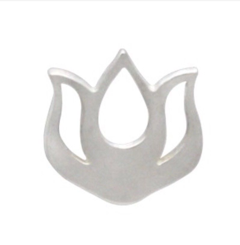 Small Open Lotus Flower Bud Yoga Inspired Stud Post Earrings - Sterling Silver .925