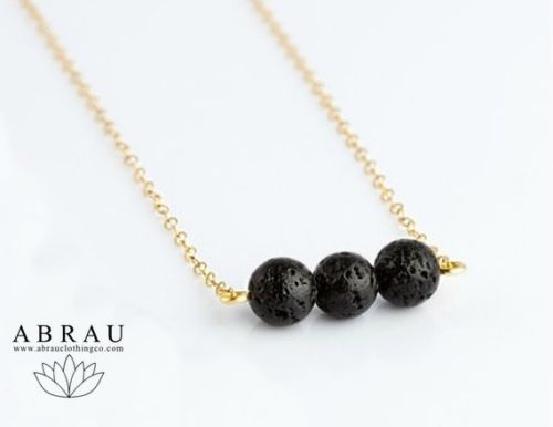 Minimalist 3 Triple Lava Stone Oil Diffuser Necklace - Sterling Silver or Gold Filled