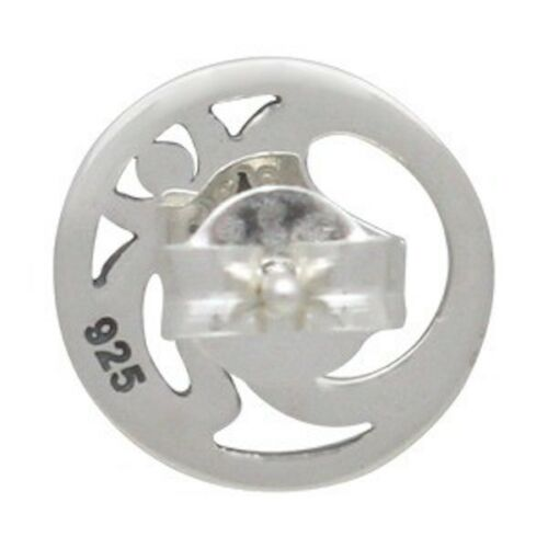 Om Ohm Aum Yoga Inspired Open Round Stud Post Earrings - Sterling Silver .925