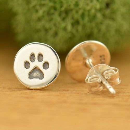 Stamped Paw Print Round Circle Stud Post Earrings - Sterling Silver .925