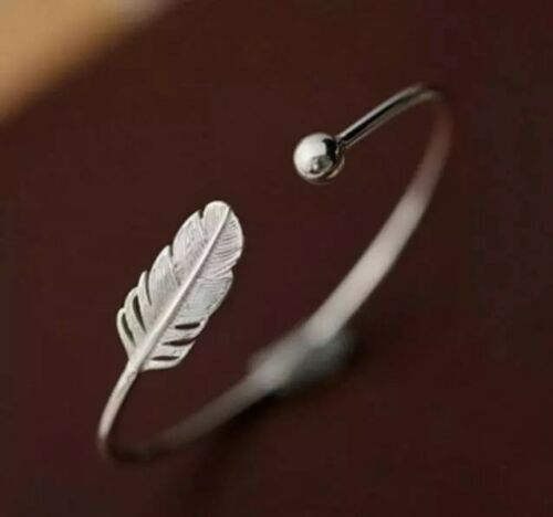 Silver Wire Wrap Feather Open Cuff Bangle Adjustable Bracelet
