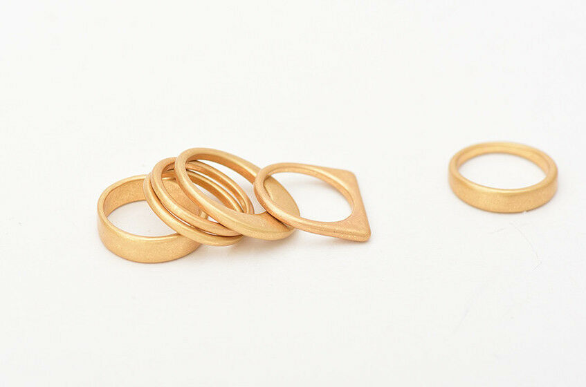 Modern & Simple 6 Piece Chunky Matte Gold or Silver Finger Knuckle Ring Set