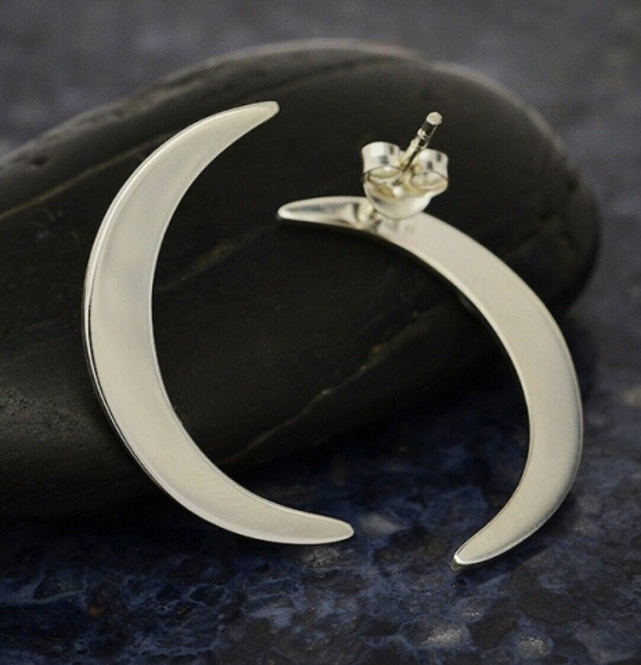 Long sexy crescent moon earrings in sterling silver