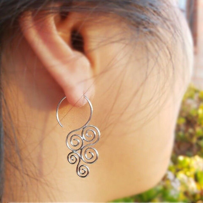 Modern Minimalist Spiral Swirl Hook Hoop Earrings - Sterling Silver .925