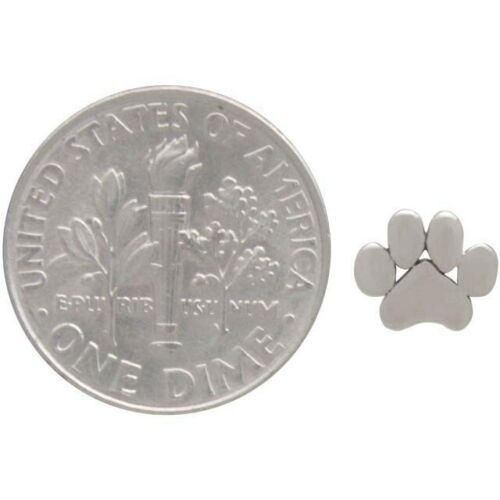 Small Dog Pet Paw Print Stud Post Earrings - Sterling Silver .925