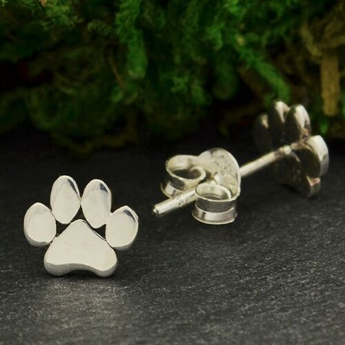 paw print sterling silver post stud earrings