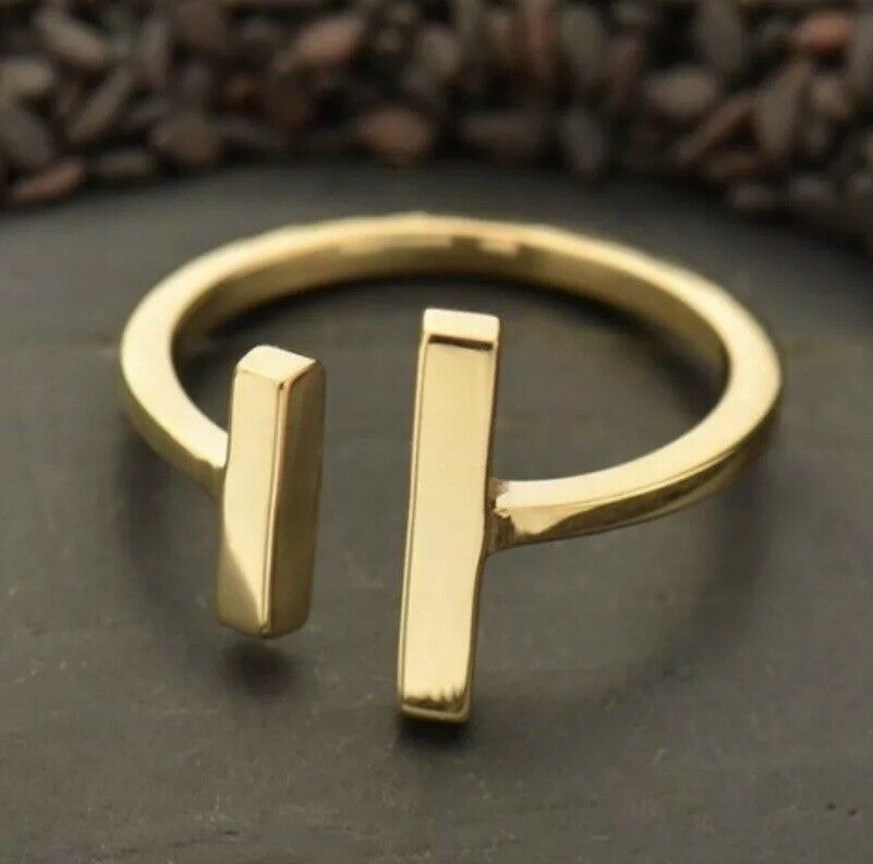 Bronze Negative Space Open Parallel Bars Gold Adjustable Ring