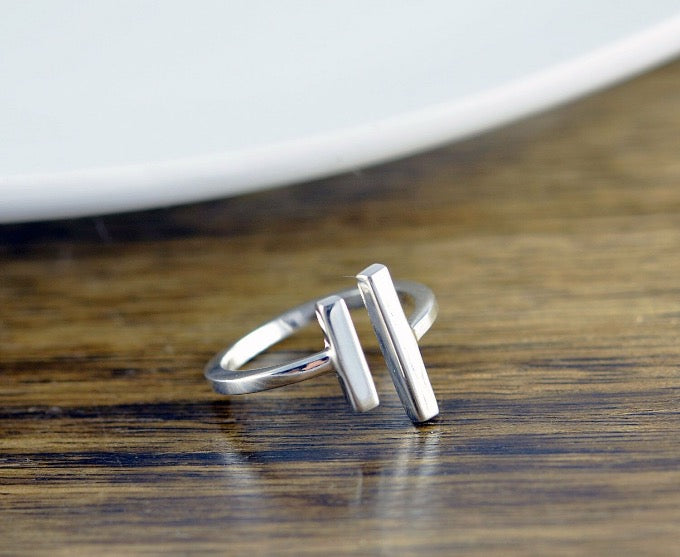 sterling silver parallel bars modern open space adjustable ring