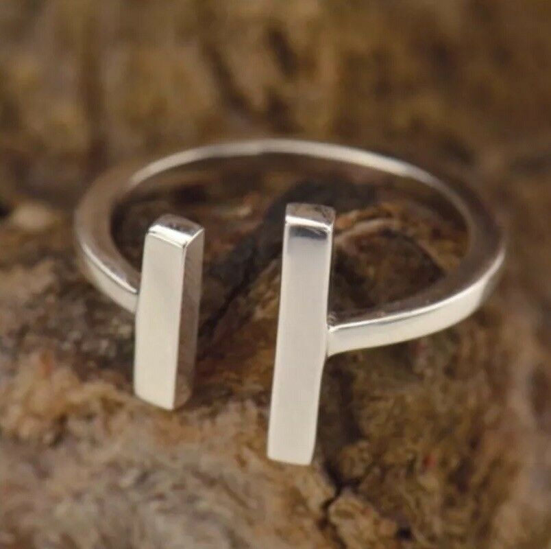 Sterling Silver Open Space Parallel Bar Modern Adjustable Ring