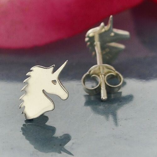 sterling silver unicorn post stud earrings
