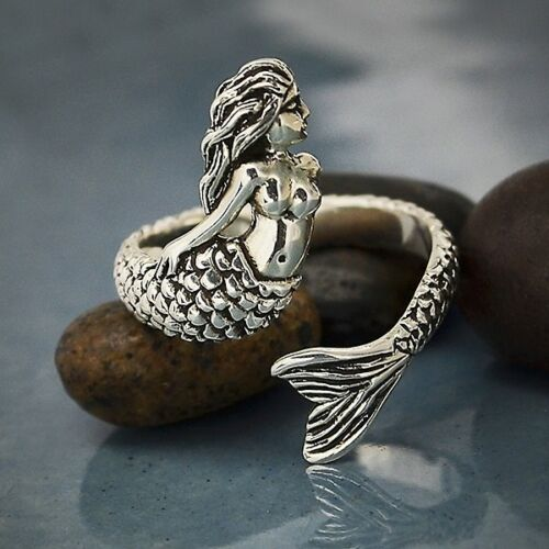 sterling silver detailed mermaid adjustable ring