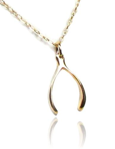 gold filled wishbone charm necklace