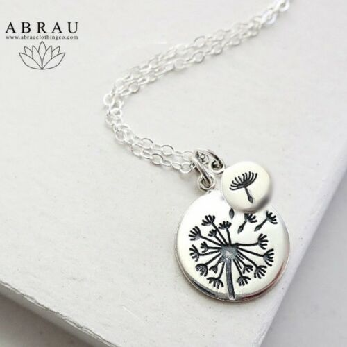Stamped Dandelion Flower Charm Necklace