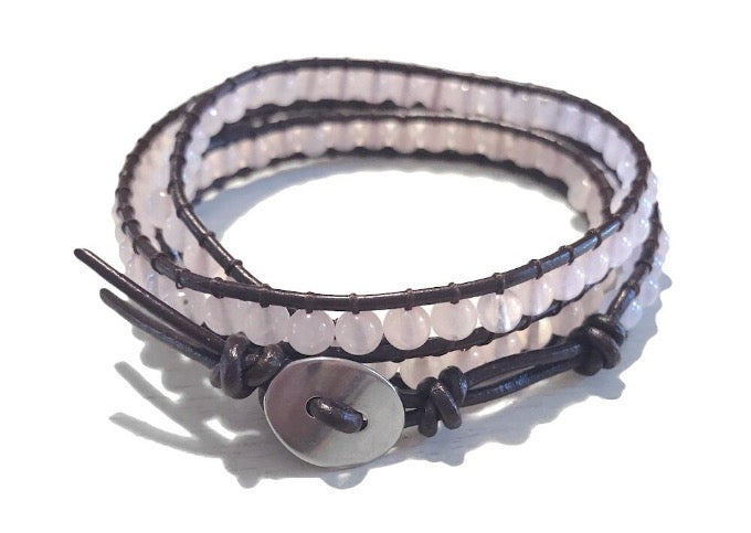 Pink Rose Quartz Gemstone Brown Leather 3 Wrap Boho Beaded Adjustable Bracelet