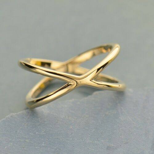 Criss Cross Negative Space Bronze Gold Ring