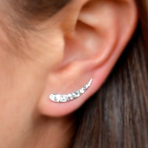 sterling silver hammered ear climber earrings