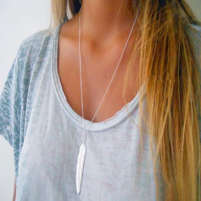 Simple Minimalist Long Layering Feather Pendant Necklace - Gold or Silver
