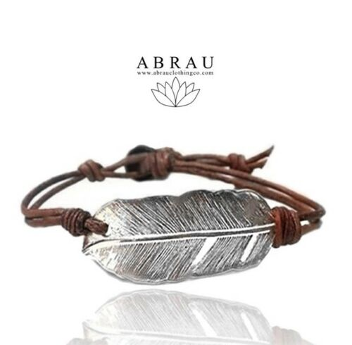 Abrau Jewelry Signature Fine Silver Feather Leather Wrap Bracelet