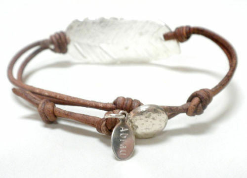 Fine Silver .999 Adjustable Leather Wrap Charm Bracelet - Choose Leather Color