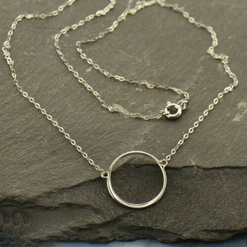 Sterling Silver Simple Dainty Open Karma Circle Necklace - With Box and Card