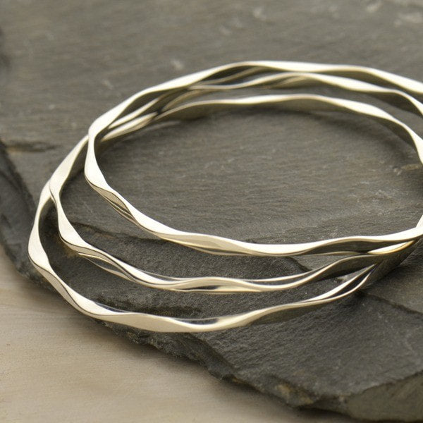 sterling silver wave pattern bangle bracelet