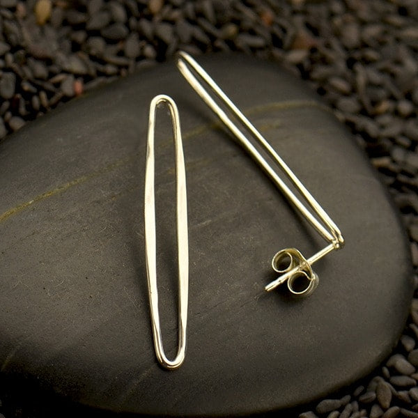 Modern and Minimal Long Oval Geometric Post Earrings - Sterling Silver .925