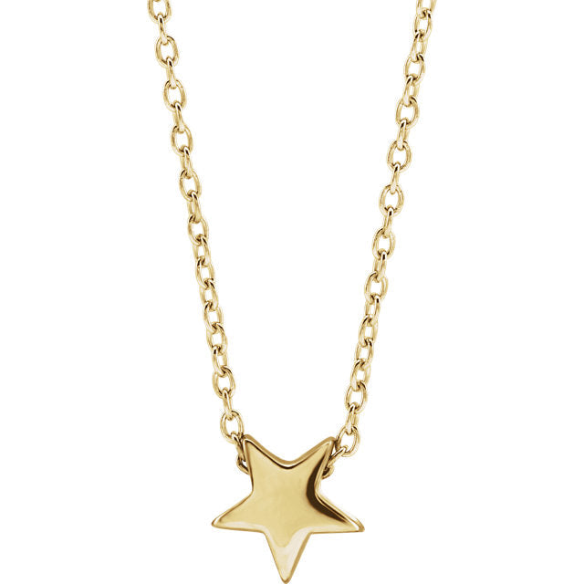 14K Solid Gold Star 16