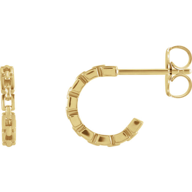 14K Solid Gold Geometric Tiny Hoop Chain Link Earrings {More Options}